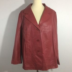 Maggie Barnes Red Leather Jacket/Coat